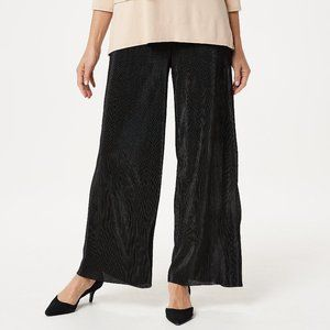 P L Joan Rivers Petite Pleat Palazzo Pants Black